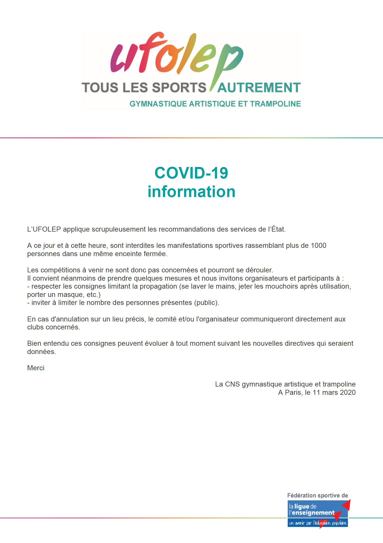 Info Coronavirus / Compétitions   A.S.MARCOUSSIS GYMNASTIQUE